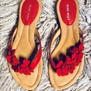 Nine West Red Leather Floral Flip Flops - NWOT